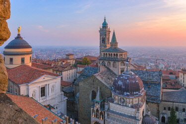 CLKFV87036 Basilica of Santa Maria Maggiore with Cappella Colleoni(Colleoni Chapel) from above during sunset. Bergamo(Upper town), Lombardy, Italy.