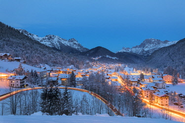 CLKGP86000 A view of Falcade village at dusk (Falcade, Biois Valley, Belluno province, Veneto, Italy