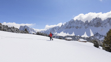 CLKMC84551 a hiker is walking with snowshoes into the Natural Park Puez Geisler with the Aferer Geisler in the background, Bolzano province, South Tyrol, Trentino Alto Adige, Italy,