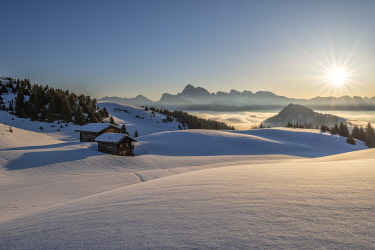 CLKMK88377 Alpe di Siusi/Seiser Alm, Dolomites, South Tyrol, Italy. Sunrise on the plateau of Bullaccia/Puflatsch. In the background the peaks of the Odle