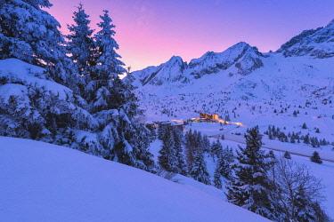 CLKMR82533 Sunrise in Tonale pass, Lombardy district, Brescia province, Italy.