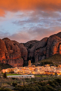 Aguero village with Mallets of Aguero at sunrise. Aguero, province of Huesca, Aragon, Spain