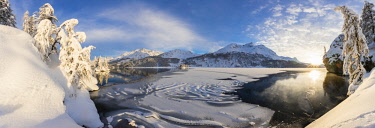 CLKRM84095 Panoramic of frozen Lake Sils, Plaun da Lej, Maloja Region, Canton of Graubunden, Engadin, Switzerland