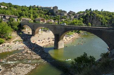 FRA10347 France, Auvergne-Rhone-Alpes, Ardeche, Balazuc. Overlooking the Ardeche River, Balazuc is an ancient fortified village and among the prettiest villages in southern France.
