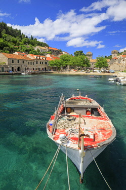 CRO1699AW Croatia, Dalmatia, Sipan. Fishing boat in the harbour at Sudurad village.