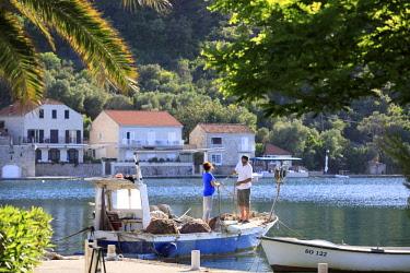 CRO1724AW Croatia, Dalmatia, Sipan. Fisherman mending nets in the harbour at Sipanska Luka.