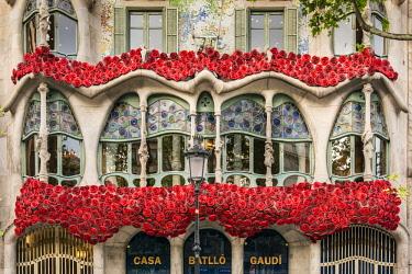 SPA7874AW Casa Batllo adorned with roses to celebrate La Diada de Sant Jordi or Saint George's Day, patron saint of Catalonia (23 April), Barcelona, Catalonia, Spain
