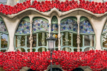 SPA7875AW Casa Batllo adorned with roses to celebrate La Diada de Sant Jordi or Saint George's Day, patron saint of Catalonia (23 April), Barcelona, Catalonia, Spain