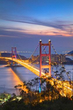 CH11586AW Tsing Ma Bridge at sunset, Tsing Yi, Hong Kong, China