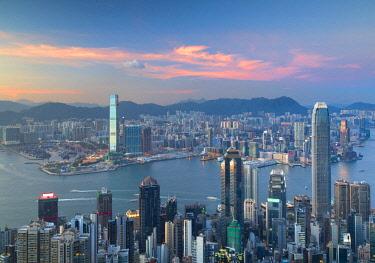 CH11594AW Skyline of Hong Kong Island and Kowloon from Victoria Peak at sunset, Hong Kong Island, Hong Kong