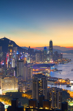CH11608AW Skyline of Hong Kong Island at sunset, Hong Kong