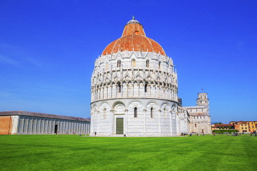 ITA12897AWRF Baptistery, Cathedral and Leaning Tower, Campo dei Miracoli, Pisa, Tuscany, Italy, Europe