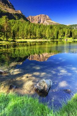 ITA12916AW Italy, Trentino-Alto Adige , Alps , Trento district, Val di Fassa , Passo San Pellegrino, The lake.