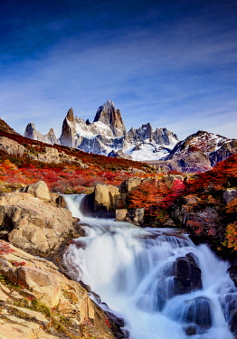 ARG2621AW Waterfall on Arroyo del Salto and Mount Fitz Roy, Los Glaciares National Park, Santa Cruz Province, Patagonia, Argentina