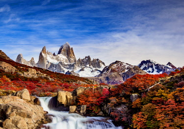 ARG2622AW Waterfall on Arroyo del Salto and Mount Fitz Roy, Los Glaciares National Park, Santa Cruz Province, Patagonia, Argentina