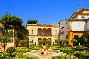 SPA7985AW Garden of the Patio of Casa de Pilatos, Svilla, Andalusia, Spain