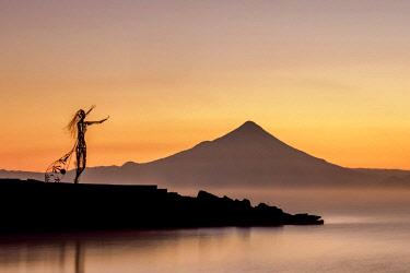 CHI11055AW Princess Licarayen Sculpture and Osorno Volcano at dawn, Puerto Varas, Llanquihue Province, Los Lagos Region, Chile