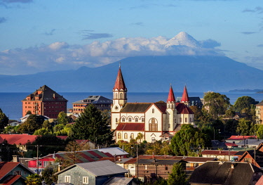 CHI11138AW Church and Osorno Volcano, elevated view, Puerto Varas, Llanquihue Province, Los Lagos Region, Chile
