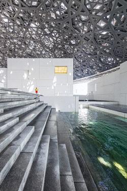 UAE0760 Interior of the Abu Dhabi Louvre Art Museum designed by the architect Jean Nouvel, Saadiyat Island, Abu Dhabi, United Arab Emirates.