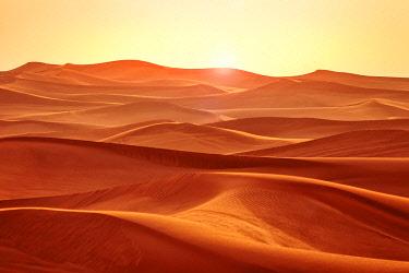 UAE0777 Sunset over the Sharjah Desert Dunes, Sharjah, United Arab Emirates.