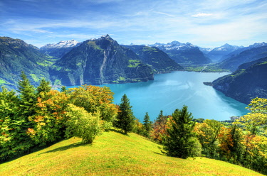 View at Lake Lucerne with Altdorf and Glarner Alps at fall, Unterwalden, Switzerland