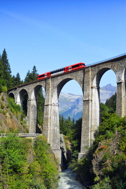FRA10373 Europe, France, Haute Savoie, Rhone Alps, Chamonix, Mont Blanc Express train crossing a viaduct