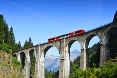 FRA10374 Europe, France, Haute Savoie, Rhone Alps, Chamonix, Mont Blanc Express train crossing a viaduct