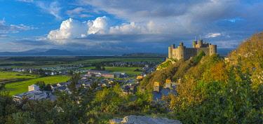 UK06173 Uk, Wales, Gwynedd, Harlech, Harlech Castle, Mountains of Snowdonia National Park beyond