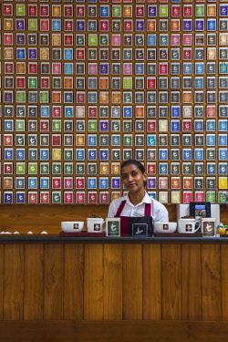 SL01211 Sri Lanka, Nuwara Eliya, Tea room at The Grand Hotel, The former residence of Sir Edward Barnes, Governor of Sri Lanka from 1830 to 1850