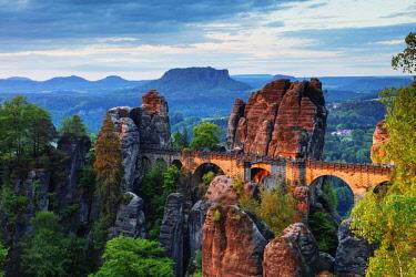 GER10921 Europe, Germany, Saxony, Saxon Switzerland National Park, sunrise on bastei bridge