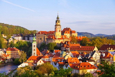 CZE1917 Europe, Czech Republic, South Bohemia Region, Cesky Krumlov, Unesco site, Cesky Krumlov castle dating back to 1240 built by Witigonen and Rosenberg families