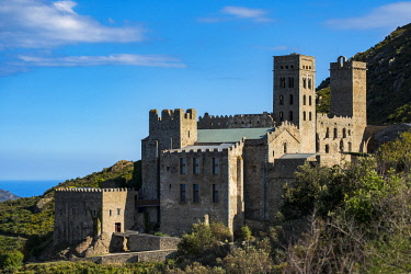 SPA8096 Exterior view of Sant Pere de Rodes Monastery, one of the most visited tourist sites in the nature reserve of Cap de Creus north of the Costa Brava in Catalonia Spain