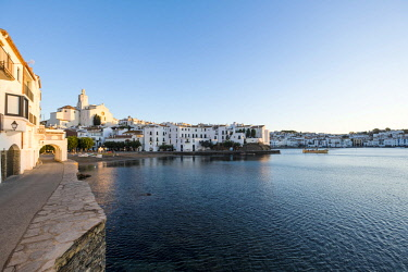 SPA8076 View of the village of Cadaques and the church of Santa Maria during the sunrise on the Costa Brava in the province of Girona in Catalonia Spain