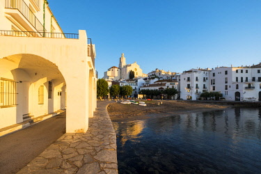 SPA8077 View of the village of Cadaques and the church of Santa Maria during the sunrise on the Costa Brava in the province of Girona in Catalonia Spain