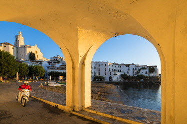 SPA8078 View of the village of Cadaques and the church of Santa Maria during the sunrise on the Costa Brava in the province of Girona in Catalonia Spain