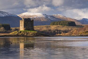 SCO35277AW 14th Century Castle Stalker on an island in Loch Linnhe, Appin, Scotland. Winter (March) 2017.