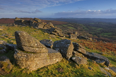 ENG15741AW Granite outcrops at Hound Tor in Dartmoor National Park, Devon, England.