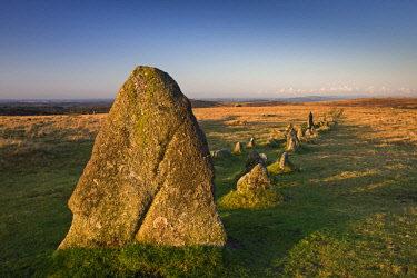 ENG15743AW Megalthic standing stones at Merrivale Stone Rows, Dartmoor, Devon, England.
