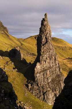 SCO35264AW Needle Rock, one of the basalt columns that stands alongside the Old Man of Storr, Isle of Skye, Scotland. Autumn (November) 2017.