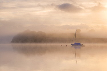 ENG15711AW Sailing boat moored on a misty Wimbleball Lake at dawn, Exmoor National Park, Somerset, England. Spring (May) 2017.