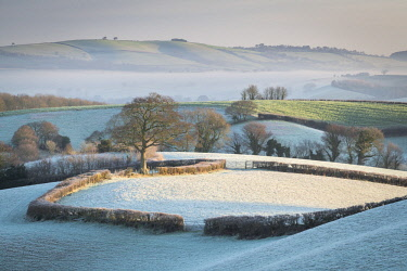 ENG15660AW Frost covered countryside near Crediton, Mid Devon, England. Winter (January) 2018.