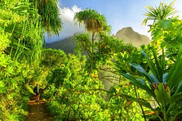 USA13595AW USA, Hawaii, Kauai, Na Pali Coast, woman hiking on coastal trail MR