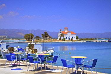 GR243RF The Harbour and Agios Spyridon Church, Elafonisos Island, Laconia, The Peloponnese, Greece, Southern Europe