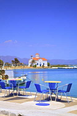 GR244RF The Harbour and Agios Spyridon Church, Elafonisos Island, Laconia, The Peloponnese, Greece, Southern Europe