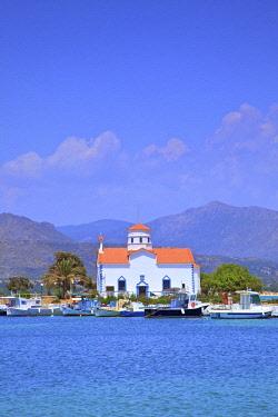 GR06435 The Harbour and Agios Spyridon Church, Elafonisos Island, Laconia, The Peloponnese, Greece, Southern Europe
