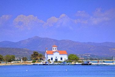 GR06436 The Harbour and Agios Spyridon Church, Elafonisos Island, Laconia, The Peloponnese, Greece, Southern Europe