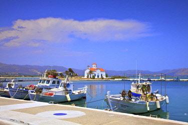 GR06437 The Harbour and Agios Spyridon Church, Elafonisos Island, Laconia, The Peloponnese, Greece, Southern Europe