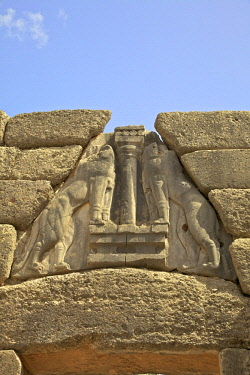 GR272RF The Lion Gate, Mycenae, Argolis, The Peloponnese, Greece, Southern Europe