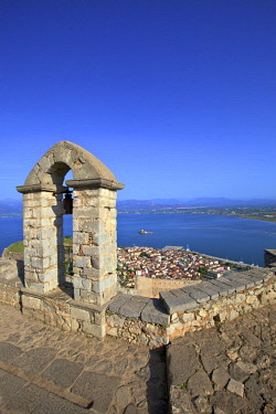 GR276RF The Bell Tower at Palamidi Castle, Nafplio, Argolis, The Peloponnese, Greece, Southern Europe
