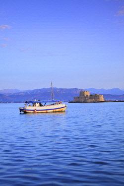 GR06517 Bourtzi Castle at Sunrise, Nafplio, Argolis, The Peloponnese, Greece, Southern Europe